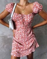 Galaca Mini Dress in Ditsy Butterfly Peach and Red By Motel Size XXS