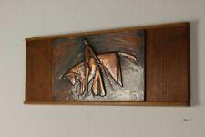 altes Torero Kupfer Holz Wand Bild von 1967 Signiert 54x20cm vintage 50er 60er J