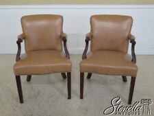 L45388EC: Pair Of Tan Leather Mahogany Open Arm Chairs w Tack Head Trim