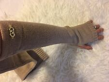 NWT COLE HAAN WOMEN'S LONG ELBOW KNIT FINGERLESS TEXTING GLOVES~NUDE/BEIGE~SMALL