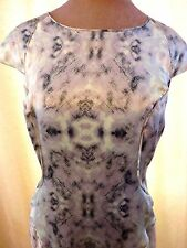 Reiss Pure Silk green grey Skala print special Occasion Dress 12 Wedding Ascot
