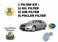 FOR LEXUS GS430 4.3i 2005-->ON  OIL AIR POLLEN FILTER (3) SERVICE KIT