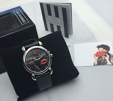 Lulu Guinness Black Leather Ladies Don't Forget Your Lipstick Watch