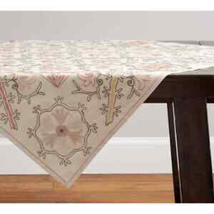 Pottery Barn Antique Floral Embroidered Table Throw 50x50 NEW