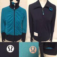 Lululemon Size 8 Raja Jacket Mesh Blue Turquoise Reversible Navy Blue Full Zip