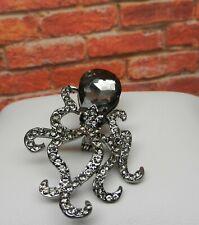 Octopus Cephalopoda Sea Ocean Creature Pin Brooch Rhinestone Crystal Body Head