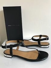 Marc By Marc Jacobs Avrum Studded T Strap Sandals Black Leather Sandals 38.5 *