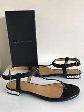 Marc By Marc Jacobs Avrum Studded T Strap Sandals Black Leather Sandals 38.5
