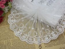 5 Meter White Embroidery Flower Lace Trims Tulle Ribbon Bridal Dress Craft 100mm