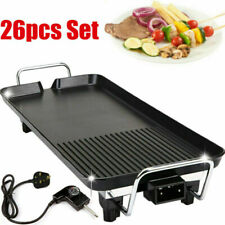 Electric Table Top Grill Griddle BBQ Hot Plate Camping Cooking Cast Iron Pan 26X