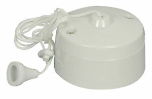 New Pull Cord  6A 1 Way Ceiling Mounted Switch For Bathroom Light & Fan etc