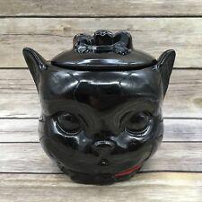 Vintage Shafford Black Cat Pottery Cookie Jar AS-IS