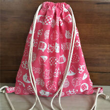 Cotton Linen Drawstring Travel Backpack Student Book Bag Gym Shoe Bag Cat HeadE