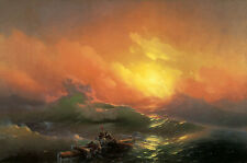 Oil painting aivazovsky - the ninth wave great seascape with Shipwreck & sunrise