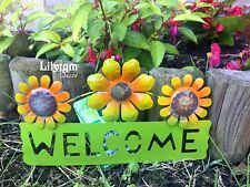 Flowers Welcome Hanging Plaque Garden Fence Home Metallic Wall Decorations