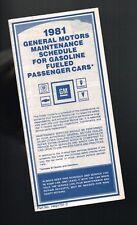 1981 GM Maintenance Schedule Glove Box Brochure : CHEVY/BUICK/OLDSMOBILE/PONTIAC