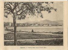 Stampa antica AJACCIO veduta da Piazza Miot Corsica Corse 1881 Old antique Print