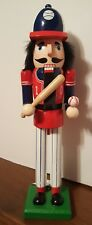 "Baseball Player Nutcracker Wooden Bat and Ball 15"" Christmas Holiday Decor NEW"