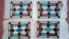 4 stained glass leaded panels