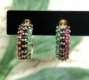 14K Yellow Gold Finish 2.00CT Round Ruby, Sapphire, Emerald Pretty Hoop Earrings