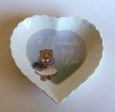 "Mikasa Bone China Heart Shaped Dish 6 1/4"" ""To Grandmother With Love"""