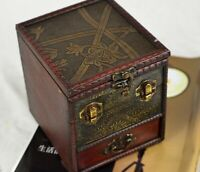Chinese Vintage Wooden Jewelry Storage Box Treasure Chest Organizer Gift Box