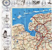 Emden Aurich Leer Papenburg 1935 orig Luftbild-Teilkarte Groningen Aurich Norden