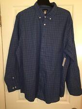 Basic Editions Mens Shirt Size 2XXL LONG SLEEVE DRESS CAUSAL BLUES PLAID CHECKER