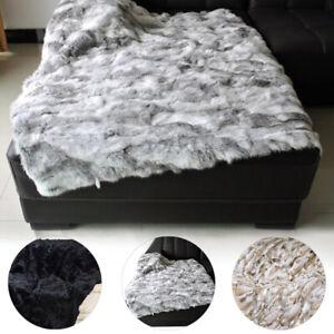 Luxury Rabbit Fur Blanket with fox trim Genuine Fur Throw Real Rabbit Fur Quilt