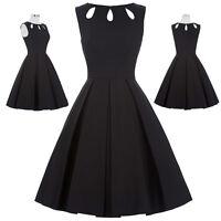 Womens Floral 50s Swing Retro DRESSES Vintage Little Black Tea Flared Dress NEW