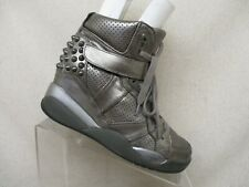 ASH Silver Leather Studded Lace Up Hidden Wedge Ankle Boots Size 39 EUR