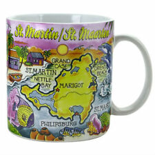 "ST.MARTIN MAP CARIBBEAN SOUVENIR COLLECTIBLE LARGE COFFEE MUG(4""H x 3.75""D) 16oz"