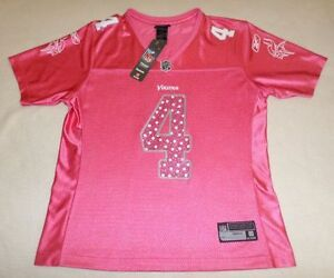 NFL Minnesota Vikings #4 Brett Favre Womens Poster Pink Reebok Jersey Size L