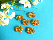 "400B/ CHARMANTS PETITS BOUTONS "" MANDARINE "" ORANGE COEUR DE STRASS"