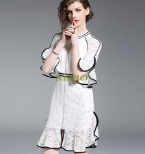 Celebrity Womens Occident White Vintage Fairy Fishtail Lace Dress Party falbalas