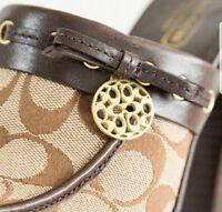 COACH JODEY Womens NEW Brown Signature Slip On Platform Mules Heels Size 8.5