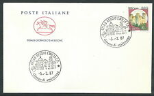 1987 ITALIA FDC CAVALLINO CASTELLO 380 LIRE ROCCA DI VIGNOLA NO TIMBRO ARRIVO -