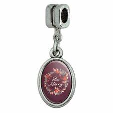 Be Merry Christmas Wreath Italian European Style Bracelet Oval Charm Bead