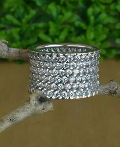 Jean Dousset Wide Eternity Absolute Band Ring Size 9  HSN Sterling Silver 11.6 g