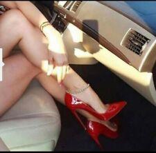 Scarpe Donna Decoltè Decollete alto vernice punta elegante tacco spillo 12 rosse