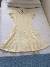 River Island Size 10 Lemon Yellow Skater Dress Crochet Collar BNWT £35 Unworn