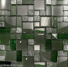 Sample- Marble Green Crystal Glass Pattern Mosaic Kitchen Backsplash Sink Bath