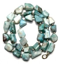 Natural Gemstone Larimar Rare Faceted Nugget Beads Necklace 19 Inch