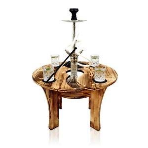 Premium Shisha Tisch aus Holz mit Untersetzer Schieferplatten Made in Germany