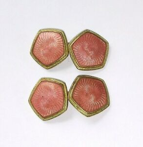 ! Antique Vintage Pink Enamel Decorated 14KTGF Gold Filled Cufflinks - 5.8 grams