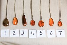 Natural Vintage Baltic Amber Pendants With Chain