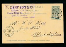BELGIUM 1896 STATIONERY MENY + SONS MARITIME AGENTS OSTEND to NELS