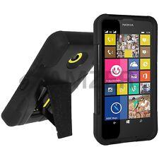 Amzer Soft + Hard Shell Hybrid Kickstand Case For Nokia Lumia 630 635 - Black
