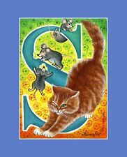"Alphabet Cat ACEO Print Letter ""S"" by I Garmashova"