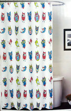 New Owl Birds Fabric Shower Curtain Chevron Striped Pink Blue Lime Green 70x72